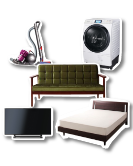 テレビ、洗濯機、ソファ、掃除機、ベッドなどの粗大ごみ